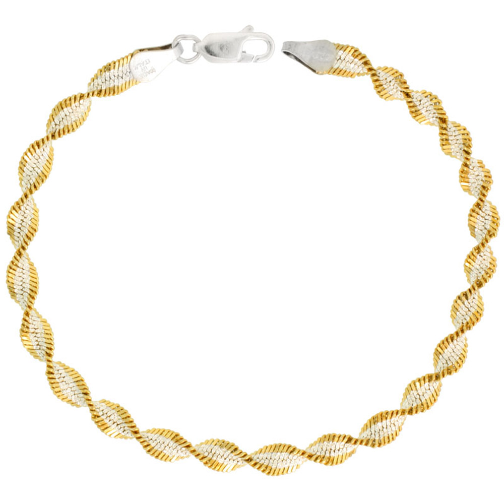 Sterling Silver Twisted Herringbone Chain Necklaces & Bracelets Two Tone Gold Finish 5mm Nickel Free Italy , 16 - 30 inch length