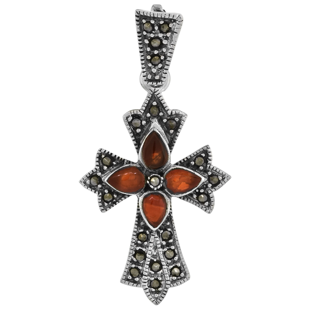 1 3/4 inch Marcasite Carnelian Patonce Cross Pendant for Women Pear Shape Cabochon Stones 46 mm tall