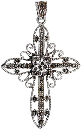"Sterling Silver Marcasite Filigree Quadrate Cross Pendant, 2"" (51 mm) tall"