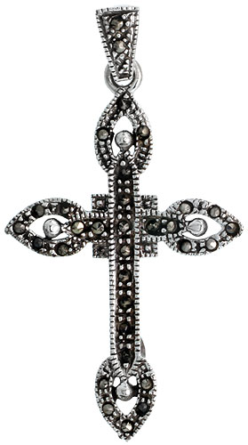 "Sterling Silver Marcasite Quadrate Cross Pendant, w/ Tear Drop Ends, 1 3/4"" (45 mm) tall"