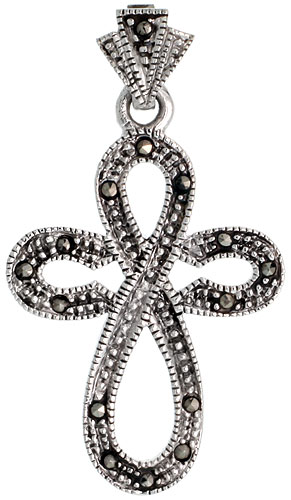 "Sterling Silver Marcasite Everlasting Cross Pendant, 1 11/16"" (43 mm) tall"