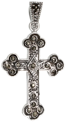 "Sterling Silver Marcasite Budded Cross Pendant, 1 3/8"" (35 mm) tall"