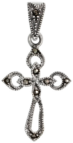 "Sterling Silver Marcasite Cross Pommee Pendant, 1 1/4"" (31 mm) tall"