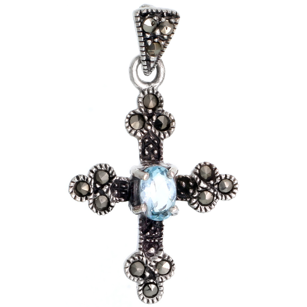 "Sterling Silver Marcasite Cross Bottony Pendant, w/ Oval Blue Topaz Color CZ Stone, 1 1/4"" (31 mm) tall"