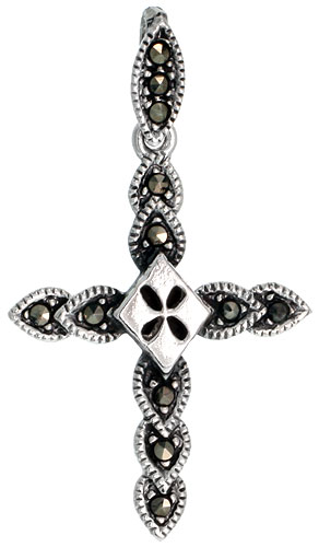 "Sterling Silver Marcasite Cross Pendant, 1 1/2"" (38 mm) tall"