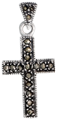 "Sterling Silver Marcasite Latin Cross Pendant, 1 1/8"" (29 mm) tall"