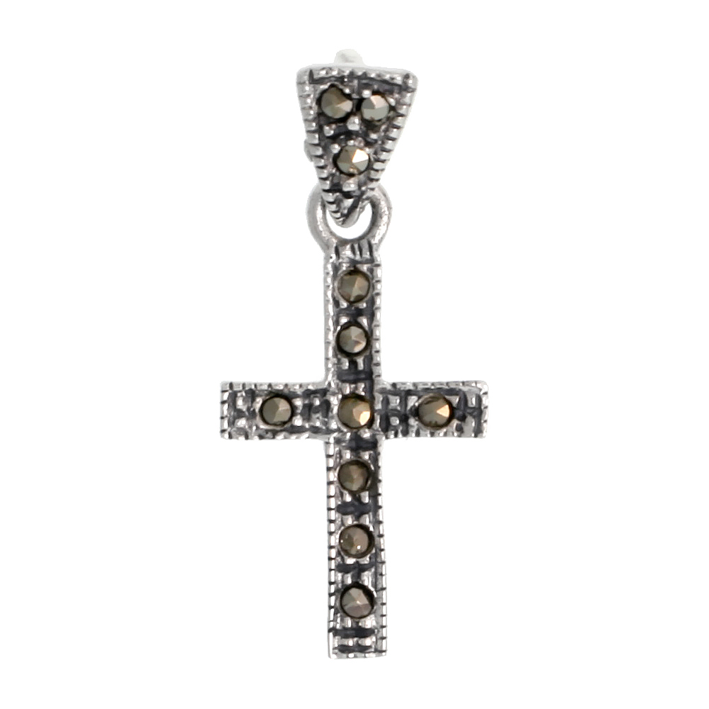 "Sterling Silver Marcasite Latin Cross Pendant, 3/4"" (19 mm) tall"