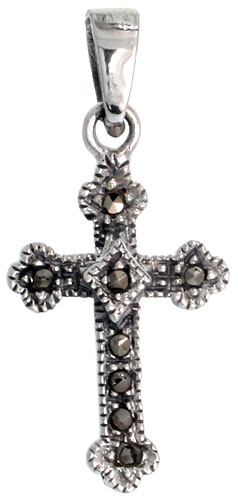"Sterling Silver Marcasite Budded Cross Pendant, 7/8"" (22 mm) tall"