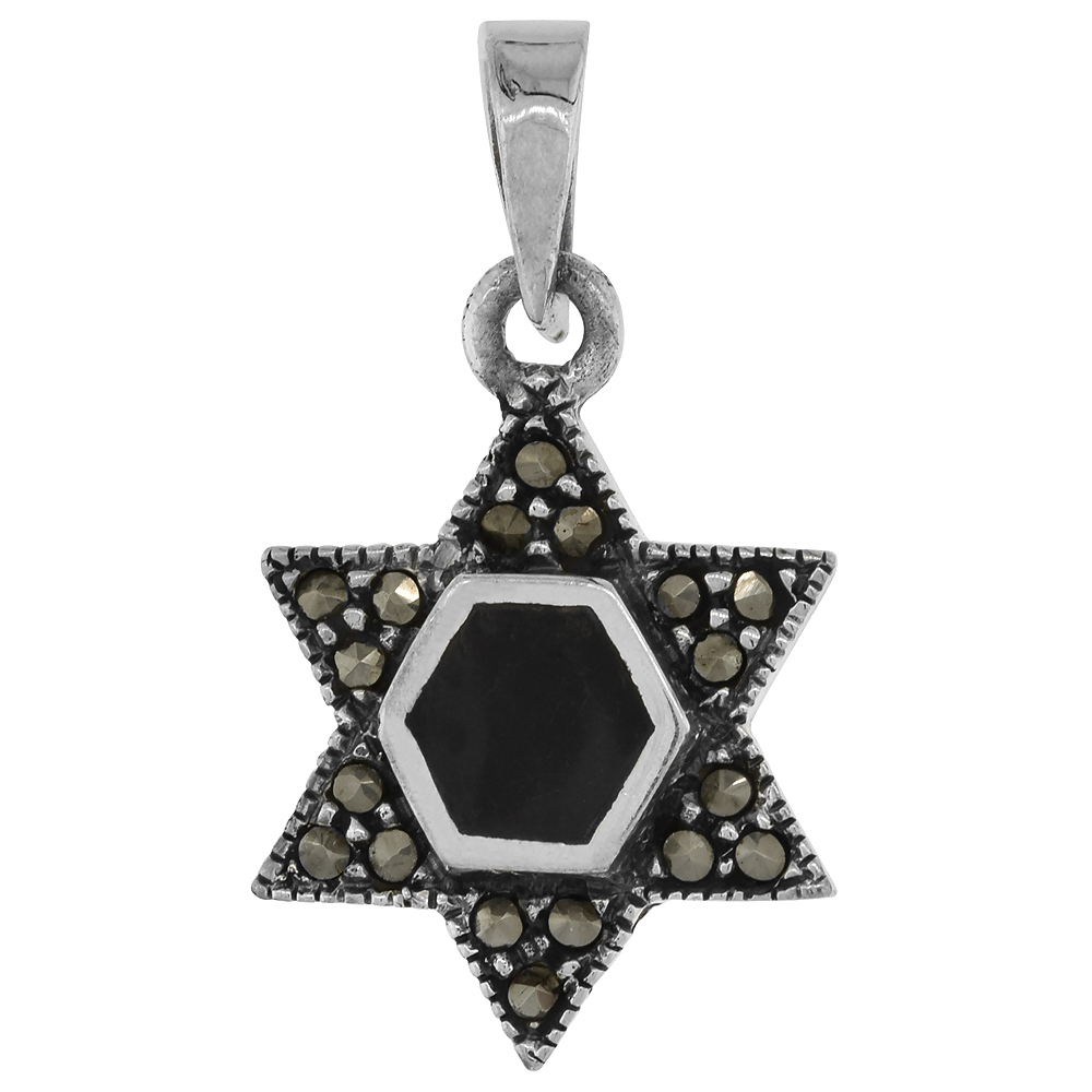 Sterling Silver Marcasite Star of David Pendant Assorted Colors