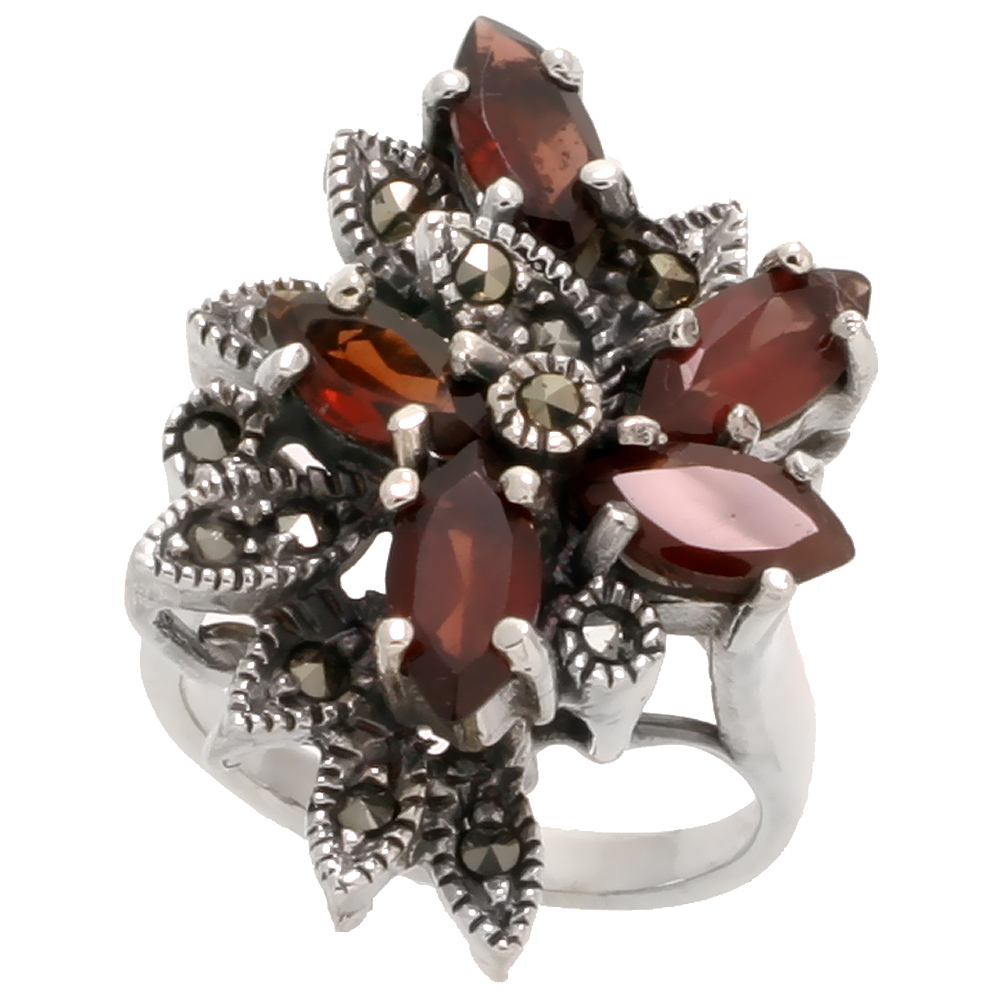 "Sterling Silver Marcasite Flower Ring, w/ Natural Garnet, 1"" (26 mm) wide"