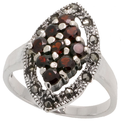 "Sterling Silver Marcasite Marquise-shaped Ring, w/ Brilliant Cut Natural Garnet, 13/16"" (21 mm) wide"