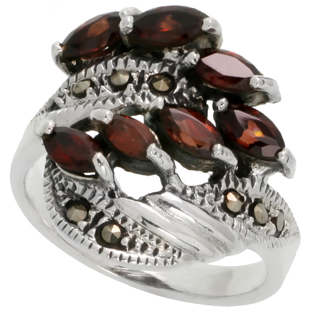 "Sterling Silver Marcasite Freeform Ring, w/ Natural Garnet, 13/16"" (21 mm) wide"