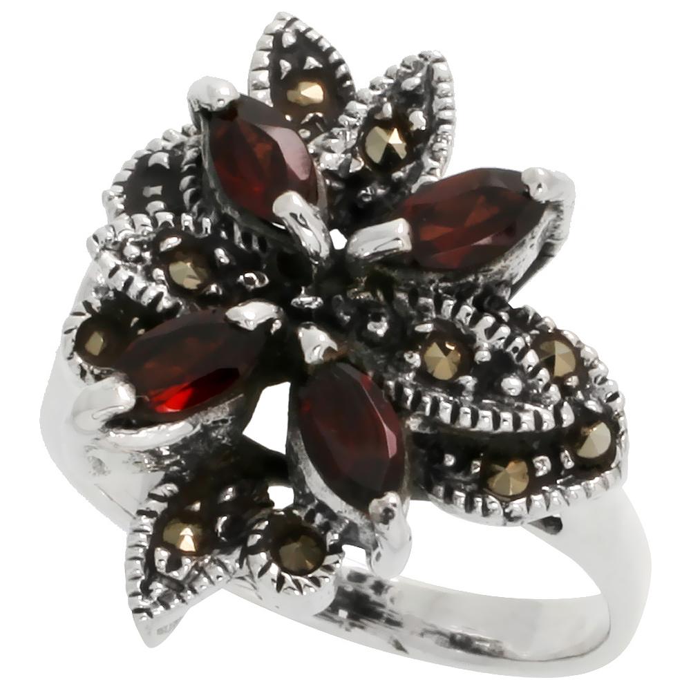 "Sterling Silver Marcasite Flower Ring, w/ Natural Garnet, 15/16"" (23 mm) wide"