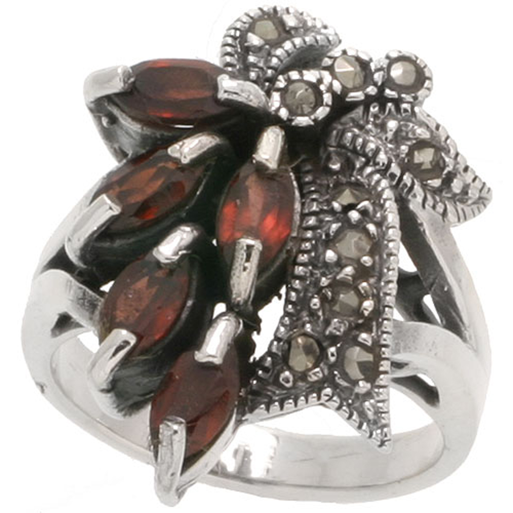 "Sterling Silver Marcasite Ribbon Ring, w/ Natural Garnet, 1"" (25 mm) wide"
