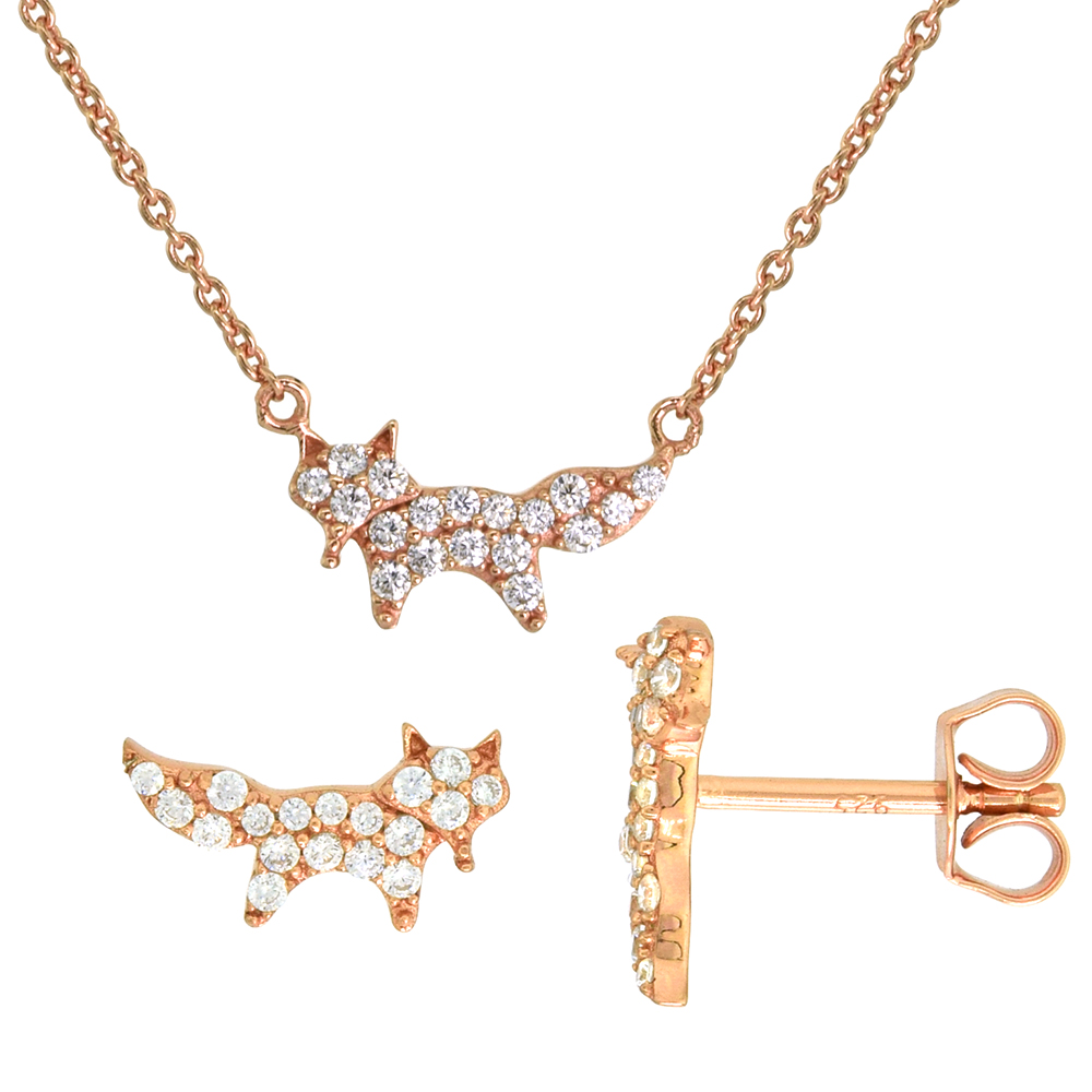 Dainty Sterling Silver Fox Earrings Necklace Set White CZ Micropave Rose Gold Plated 5/8 inch (15mm) wide
