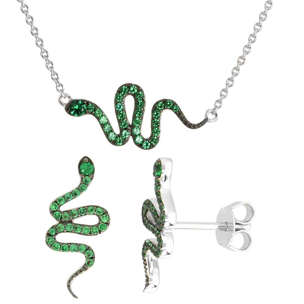 Dainty Sterling Silver Snake Earrings Necklace Set Green CZ Micropave Rhodium Plated 7/8 inch (22mm) wide