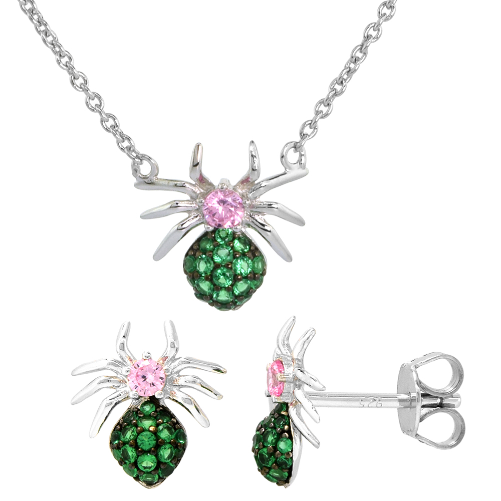 Dainty Sterling Silver Spider Earrings Necklace Set Green and Pink CZ Micropave Rhodium Plated 1/2 inch (13mm) tall