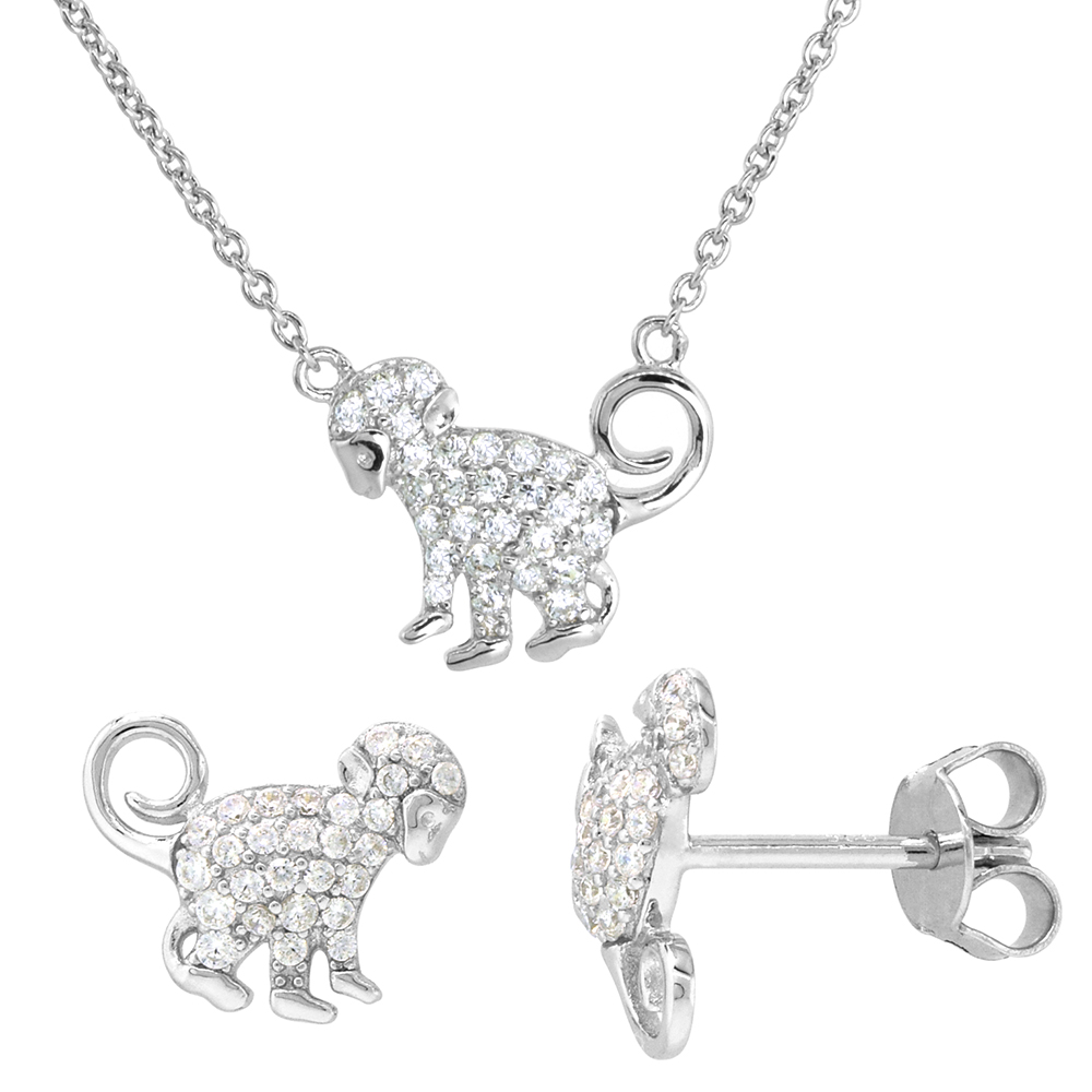 Dainty Sterling Silver Monkey Earrings Necklace Set White CZ Micropave Rhodium Plated 1/2 inch (13mm) tall ?