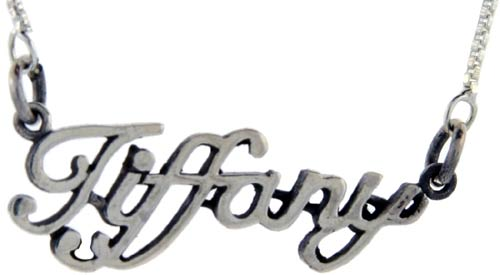 Sterling Silver TIFFANY Name Necklace 3/8 inch, 17 inches long