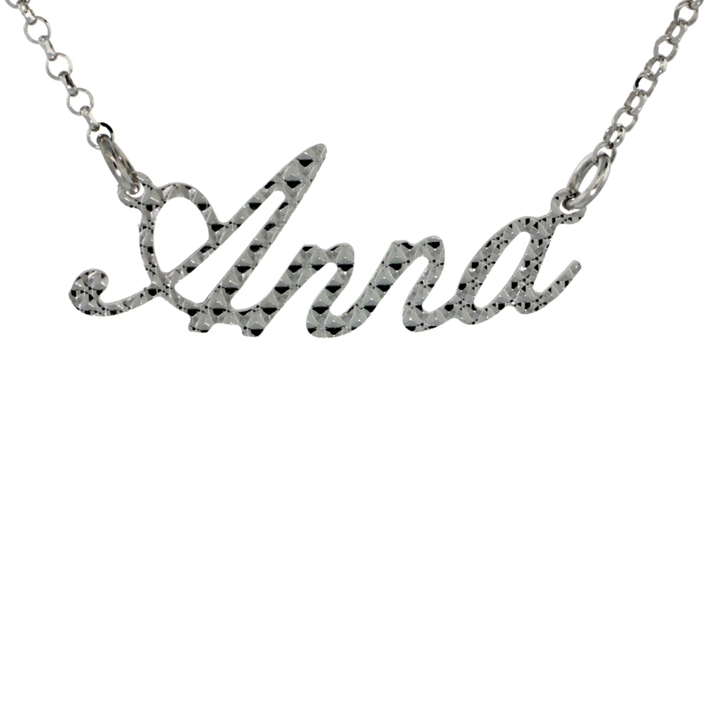Sterling Silver Name Necklace Anna Diamond Cut Platinum Coated Italy, about 3/4 Inch wide 16 Inches + 2 inch extension