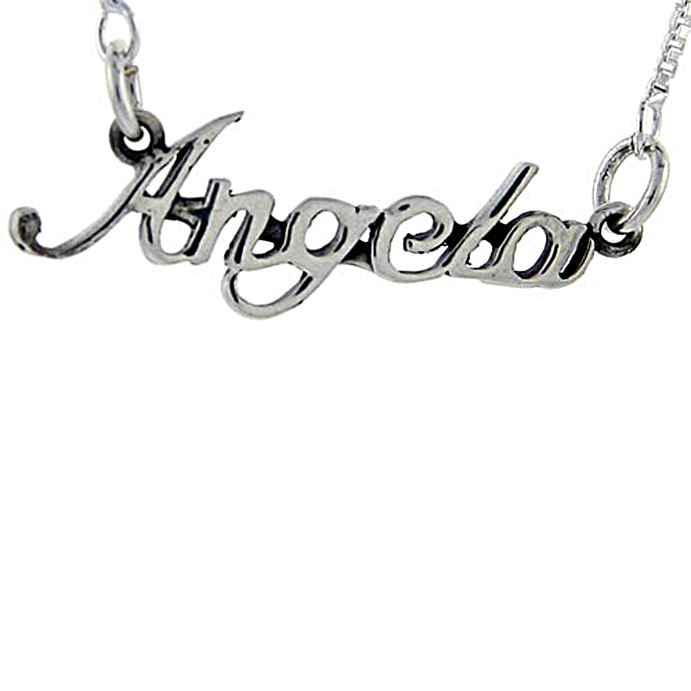 Sterling Silver Name Necklace Angela 3/8 Inch, 17 Inches Long