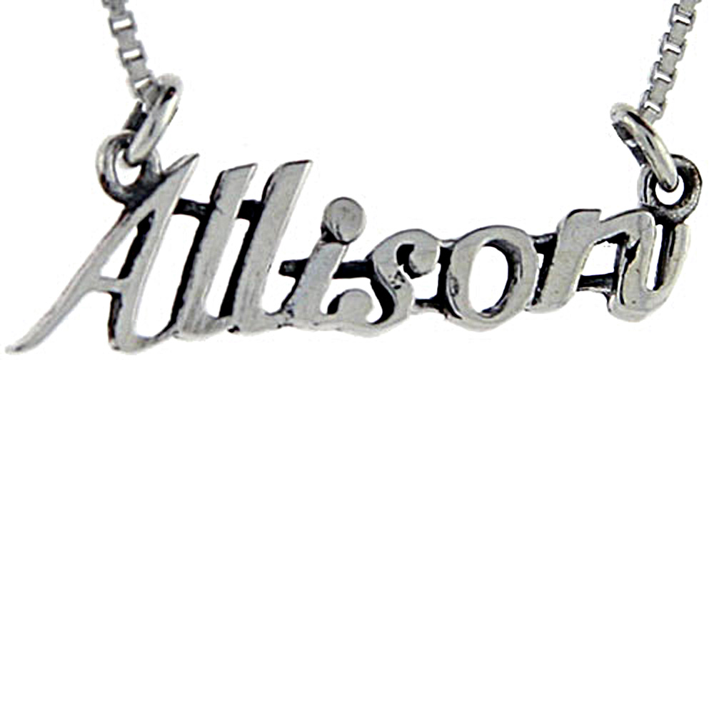 Sterling Silver Name Necklace Allison 3/8 Inch, 17 Inches Long