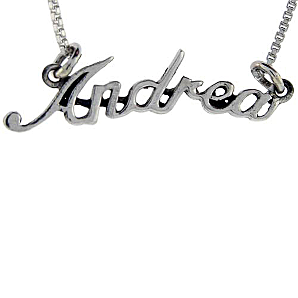 Sterling Silver Name Necklace Andrea 3/8 Inch, 17 Inches Long