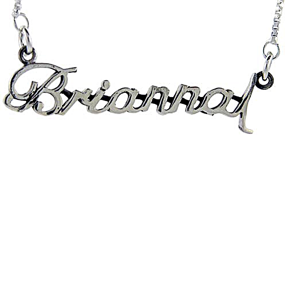 Sterling Silver Name Necklace Brianna 3/8 Inch, 17 Inches Long