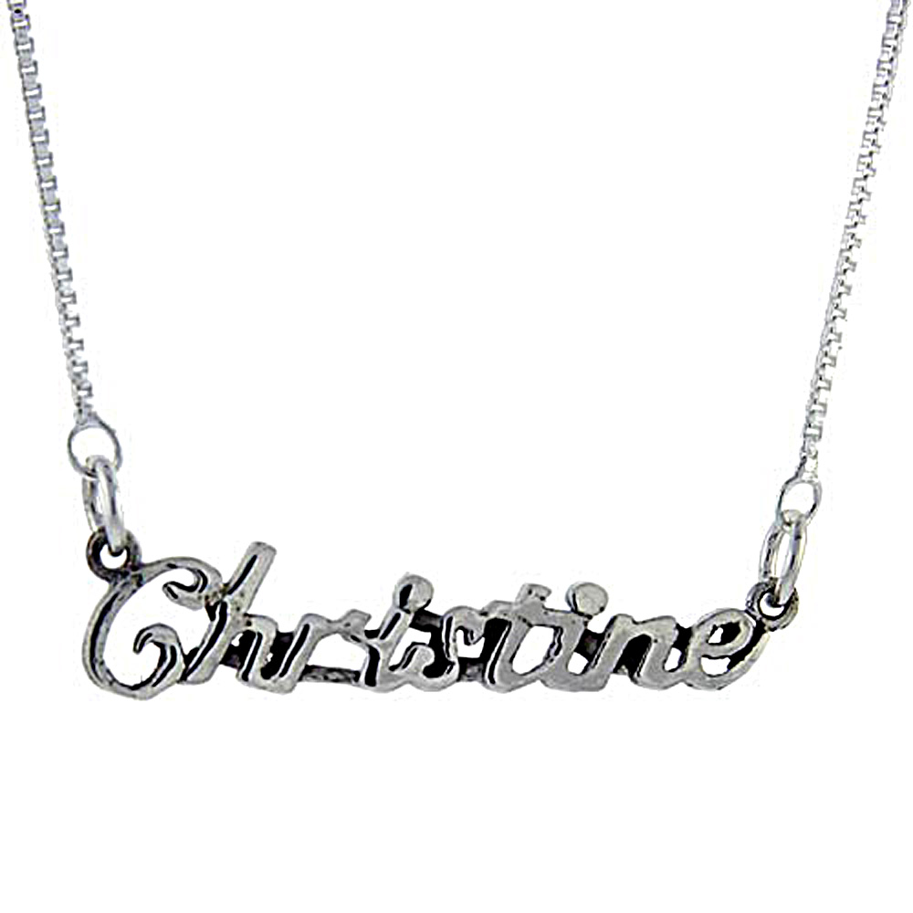 Sterling Silver Name Necklace Christine 3/8 Inch, 17 Inches Long