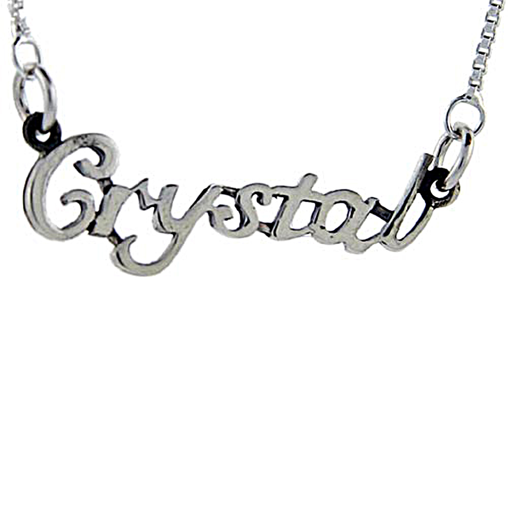 Sterling Silver Name Necklace Crystal 3/8 Inch, 17 Inches Long