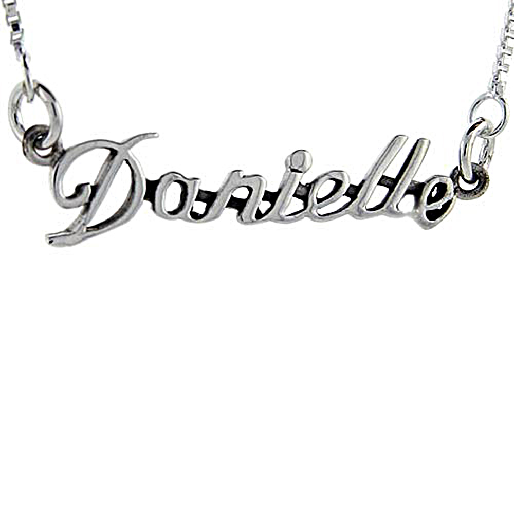 Sterling Silver Name Necklace Emily 3//8 Inch 17 Inches Long