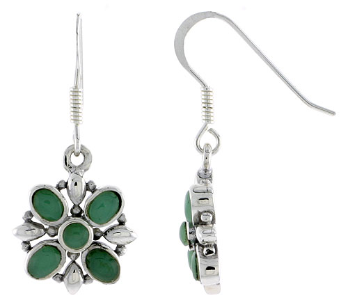 "Sterling Silver Flower Earrings, w/ 3mm Round & Four 4 x 3 mm Oval-shaped Green Resin, 9/16"" (15 mm) tall"