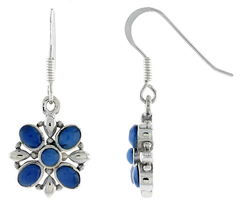 "Sterling Silver Flower Earrings, w/ 3mm Round & Four 4 x 3 mm Oval-shaped Blue Resin, 9/16"" (15 mm) tall"
