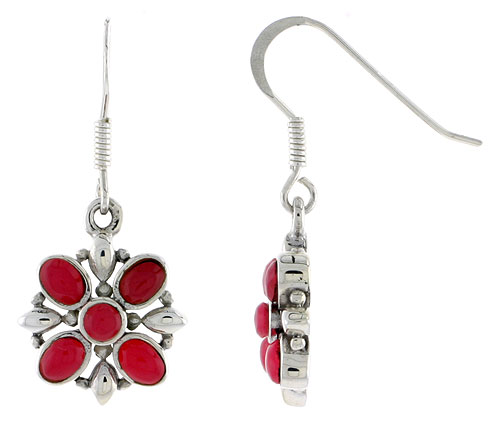 "Sterling Silver Flower Earrings, w/ 3mm Round & Four 4 x 3 mm Oval-shaped Red Resin, 9/16"" (15 mm) tall"