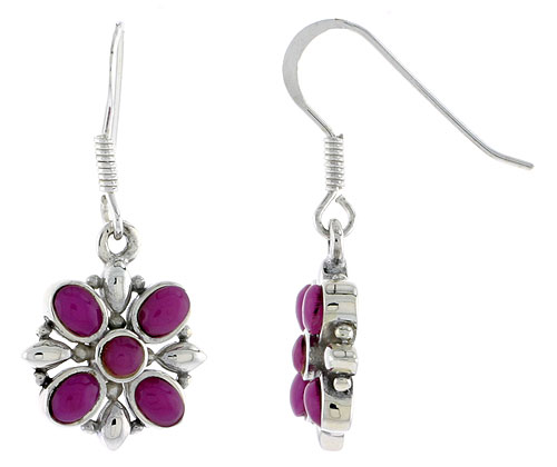 "Sterling Silver Flower Earrings, w/ 3mm Round & Four 4 x 3 mm Oval-shaped Purple Resin, 9/16"" (15 mm) tall"