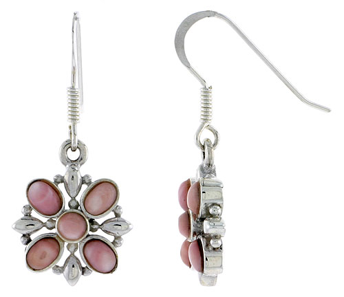 "Sterling Silver Flower Earrings, w/ 3mm Round & Four 4 x 3 mm Oval-shaped Pink Mother of Pearls, 9/16"" (15 mm) tall"