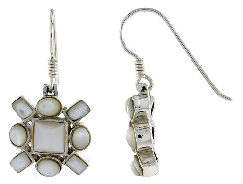 "Sterling Silver Hook Earrings, w/ 6mm Square, Four 4 x 3 mm Oval & Four 4 x 2 mm Rectangular Mother of Pearls, 5/8"" (16 mm) tall"