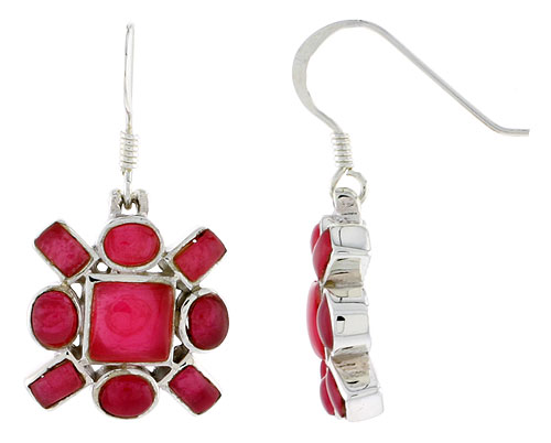 "Sterling Silver Hook Earrings, w/ 6mm Square, Four 4 x 3 mm Oval & Four 4 x 2 mm Rectangular Red Resin, 5/8"" (16 mm) tall"