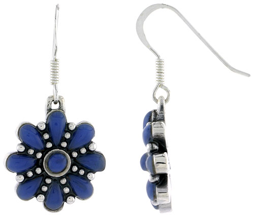 Sterling Silver Round & Teardrop Blue Resin Dangiling Earrings, 3/4 inch long
