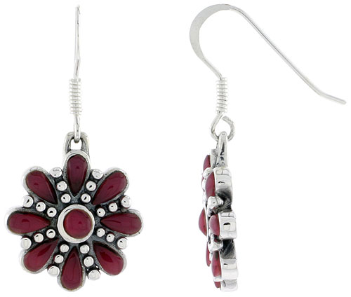 Sterling Silver Round & Teardrop Red Resin Dangling Earrings, 3/4 inch long