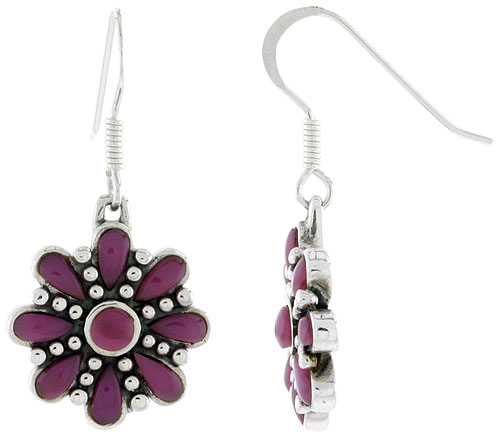 Sterling Silver Round & Teardrop Purple Resin Dangling Earrings, 3/4 inch long
