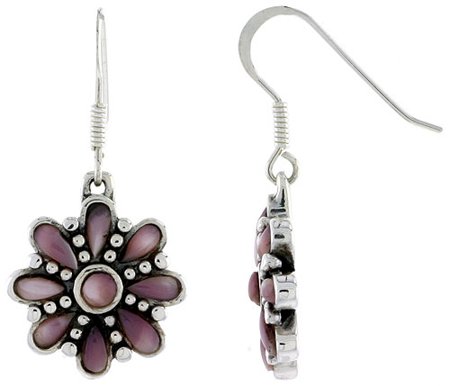 Sterling Silver Round & Teardrop Pink Mother of Pearl Dangling Earrings, 3/4 inch long