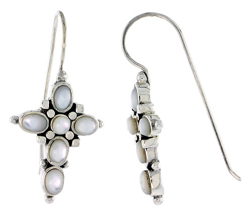 "Sterling Silver Oxidized Cross Earrings, w/ 2mm Round & Five 4 x 3 mm Oval-shaped Mother of Pearls, 7/8"" (23 mm) tall"