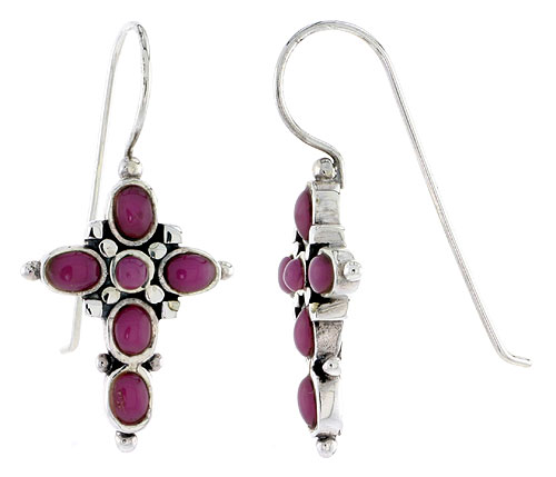 "Sterling Silver Oxidized Cross Earrings, w/ 2mm Round & Five 4 x 3 mm Oval-shaped Purple Resin, 7/8"" (23 mm) tall"