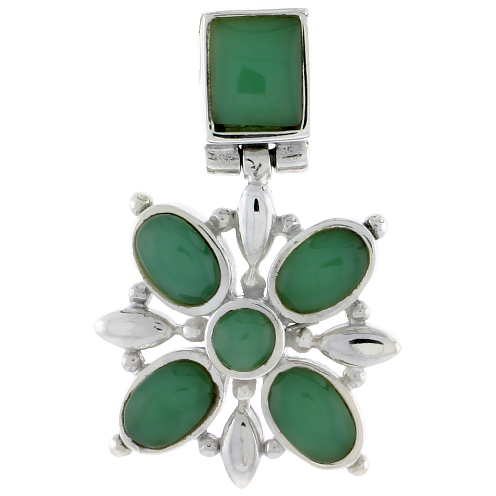 "Sterling Silver Flower Pendant, w/ 8 x 6 mm Rectangular, 4mm Round & Four 7 x 5 mm Oval-shaped Green Resin, 13/16"" (21 mm) tall"