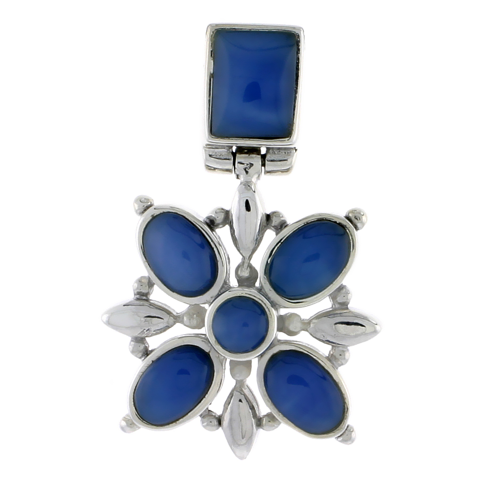 "Sterling Silver Flower Pendant, w/ 8 x 6 mm Rectangular, 4mm Round & Four 7 x 5 mm Oval-shaped Blue Resin, 13/16"" (21 mm) tall"