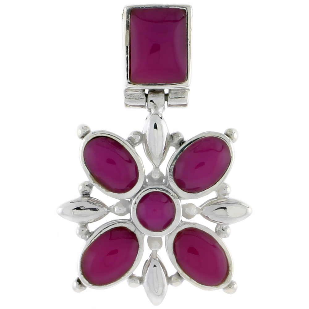 """Sterling Silver Flower Pendant, w/ 8 x 6 mm Rectangular, 4mm Round & Four 7 x 5 mm Oval-shaped Purple Resin, 13/16"""" (21 mm) tall"""