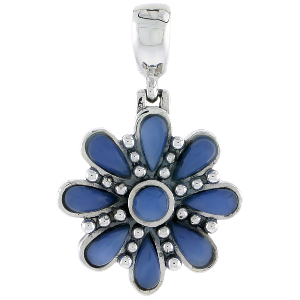 "Sterling Silver Oxidized Flower Pendant, w/ 4mm Round & Eight 6 x 3 mm Pear-shaped Blue Resin, 7/8"" (22 mm) tall"
