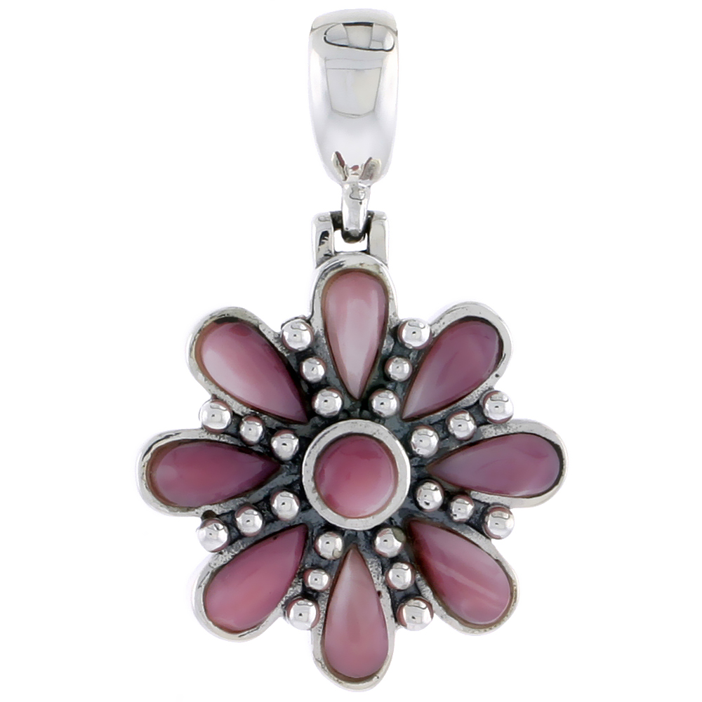 "Sterling Silver Oxidized Flower Pendant, w/ 4mm Round & Eight 6 x 3 mm Pear-shaped Pink Mother of Pearls, 7/8"" (22 mm) tall"