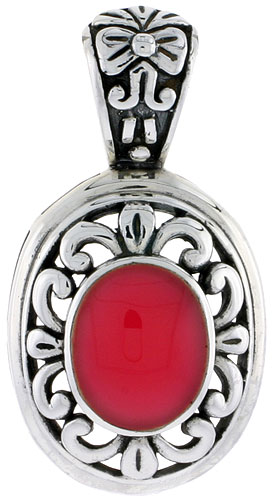 "Sterling Silver Oxidized Pendant, w/ 12 x 10 mm Oval-shaped Red Resin, 1 1/2"" (38 mm) tall"